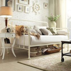Inspire Q - INSPIRE Q Giselle Antique White Graceful Lines Iron Metal Daybed - The Leona collection features spindles in the headboard and footboard with elegantly crafted casting at each joint. With a unique modern style that is sophisticated yet simple,this antique white daybed can compliment any decor.