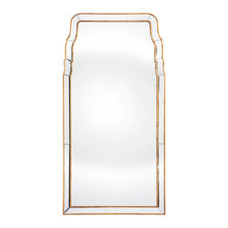 Distressed Gold Leaf Mirror - Regal yet simple, the Distressed Gold Leaf Mirror boasts a classic form of timeless beauty. The Queen Anne Mirror, influenced by the appointments of English country houses, presents a distressed gold leaf finish that imparts a whisper of glamour without unnecessary glitz. Its understated form allows the piece to complement the transitional accents of an eclectic  great room, boudoir, or formal dining room.