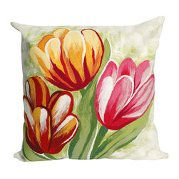 "Trans-Ocean - Tulips Red Pillow - 20"" SQ - The highly detailed painterly effect is achieved by Liora Mannes patented Lamontage process which combines hand crafted art with cutting edge technology.These pillows are made with 100% polyester microfiber for an extra soft hand, and a 100% Polyester Insert.Liora Manne's pillows are suitable for Indoors or Outdoors, are antimicrobial, have a removable cover with a zipper closure for easy-care, and are handwashable."