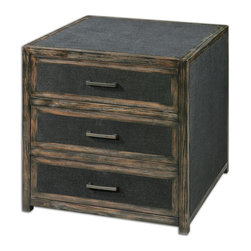 Uttermost - Draven Black Accent Chest - Open grained pine chest with black glaze and chestnut undertones, inset with dark obsidian woven fabric. Tarnished silver bar pulls accent the three dovetail drawers.