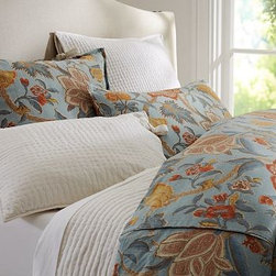 Cynthia Palampore Duvet Cover, King/Cal. King, Blue - Palampores were highly prized by European merchants of the late 17th century. In the tradition of those rich hand-blocked designs, our bedding displays a lavish, swirling print of foliage and blooms. Woven of a linen/cotton blend. Duvet cover reverses to a solid cotton percale. Sham reverses to self. Duvet cover has a button closure; sham has an envelope closure. Duvet cover, sham and insert sold separately. Machine wash. Imported.