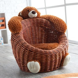 Willow Bear Chair - Brown - Bear down in the Willow Bear Chair - Brown for a comfy seat you can even snuggle with. Perfect for any child looking for a cuddle buddy, this durable willow chair offers a cozy lap for your little one to curl up on. Designed just for kids, this bear chair is woven in a slightly reclined oval shape that your little ones will sink into. The willow aesthetic blends easily to any home decor and the soft brown hue is true to the bear ornamentation.The soft teddy bear features an adorable face that watches diligently over your embracing youngster with two eyes, ears and a white snout and a cute bear smile. The two furry arms reach along the top of the chair serving as armrests but double as headrests. The bear's two feet sit at the foot of the chair, kicking back in comfort. Count on your kid having a new favorite seat in your home and definitely a new nap buddy.
