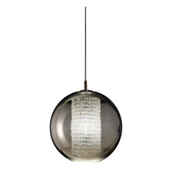 Viso - Ulee Suspension, Silver, Large - Ulee is a 1920's - inspired fixture comprising of a polycarbonate globe and Ashfour Crystal cascades, portraying a modern interpretation of the aristocrat. Noble, well-mannered, intelligent, and gentle, Ulee's elite nature does not differentiate between class structures. Thin metallization enables a dazzling crystal core to spread benevolent light and invigorate any surrounding.