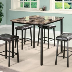 "Acme - 5-Piece Crossville II Square Faux Marble and Metal Counter Height Dining Table - 5-Piece Crossville II square faux marble and metal frame counter height dining table set. This set features a square top faux marble table with metal frame and leather like upholstered seat cushions. Table measures 36"" x 36"" x 36"" H. stools measure 24"" H to the seat. Some assembly required."