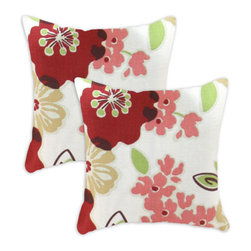 Chooty & Co. - Sydney Rainforest Cream, Red, Coral, Brown and Green  Pillow, Set of Two - - Zippered closure  - Removable Sleeve  - Product Depth: 17  - Product Width: 17  - Product Height: 4  - Product Weight: 6  - Material: 100% Cotton and Polyester Chooty & Co. - PSET17K2122