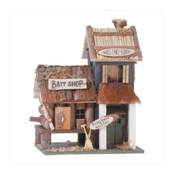 "Anzy - Wood Bird House - Bass Lake Lodge - Multi-level ""Bass Lake Lodge"" sports fishing-themed accents reminiscent of a lakeside retreat. Measures:  8"" x 5 3/4"" x 10 1/4"" high."