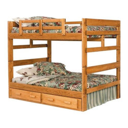 Woodcrest - Heartland Full over Full Bunk Bed - WCM321 - Shop for Bunk Beds from Hayneedle.com! Heartland Full over Full Bunk Bed by Woodcrest is designed as rustic youth furniture kid tough and durable. Constructed from pine with a beautiful honey pine stain protected with a three-stage lacquer finish. With double full size beds its spacious enough for 2-4 sleepers. Extra tall design with center support rail. These beds can be attached as bunks or two separate beds. Simple design with high quality results. Woodcrest has been manufacturing youth bedroom for over two decades. All the pieces in the Heartland Collection are products proudly Made in the USA. Assembled dimensions: 68h x 81L x 54W inches. *Choose with or without the 2-drawer under bed storage unit to add some tucked away storage space. Please note: Bunk beds and loft beds are only to be used by children 6 years of age or older.
