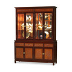"""China Furniture and Arts - Rosewood Flower and Bird Motif China Cabinet - A grand curio cabinet to display your treasured collectibles. A hand-carved flower and bird motif decorates the upper panels, lower doors, and drawers. Made of solid rosewood with traditional joinery techniques by artisans in China. In the upper interior, mirrored glass, halogen lights, and adjustable shelves allow the presentation of your treasured collectibles. The bottom cabinet has two double doors with removable shelves inside and four drawers providing ample storage space for your convenience. Hand applied classic natural finishes with mahogany trim rounds out its quiet beauty. The doors all feature brass door pulls. The total top interior space measures 56""""W x 15""""D x 39""""H, and the bottom compartment measures 58.25""""W x 17""""D x 18""""H."""