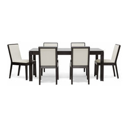 Baxton Studio - Baxton Studio Maeve 7-piece Dark Brown Modern Dining Set - Our Maeve Dining Set features one table and six matching chairs,all of which feature solid rubberwood frames with a black/brown wenge finish. Each of the chairs is foam-padded for comfort and upholstered with soft cream fabric.