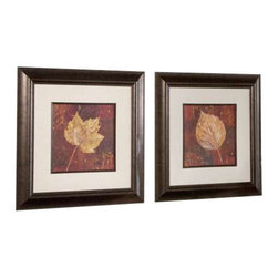 Uttermost Golden Fall Framed Art Set/2 - Frames and fillets have a bronze undertone with a dark brown and black wash. This set of earth tone prints is accented by mats that have a beige background with a gray woven texture. Frames and fillets have a bronze undertone with a dark brown and black wash. Prints are under glass.
