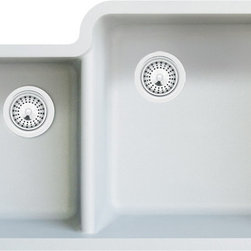 TCS Home Supplies - White Quartz Composite Double Bowl Undermount Kitchen Sink - Undermount Kitchen Sink. 40/60 Double Bowl. White Quartz Composite. Dimensions 33 x 20-13/16 x 7-3/4 | 9-7/16 Inch
