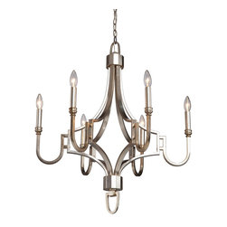 Artcraft Lighting - Artcraft Lighting Lexington Transitional Chandelier X-6651CS - The Lexington Series by Steven & Chris, features a rich Silver leaf finish (blend of silvers and golds). 6 Light Chandelier shown (shades available seperately)