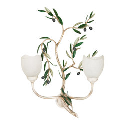 LogicSun/Montalto - Frantoio Small Wall Lamp - Give a real touch of Tuscan hills to your house with that very particular Olive theme. Wall lamp in wrought-iron and hand-painted by our Florentine artists. Cups are made in Murano glass. Hand-Made In Italy.