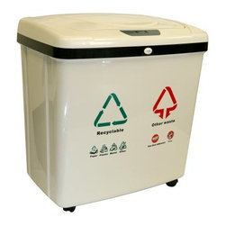 iTouchless 2 Compartment Recycle Touchless Trashcan 16 gal. Plastic - This iTouchless 2-Compartment Recycle Touchless Trashcan 16 Gallon Plastic model has two 8-gallon separated compartments for organizing trash and recyclable materials in one unit without touching the trash can. Simply place your hand or debris about 5 inches away from the sensor and the lid will open automatically. The lid will remain open if debris or your hand is within the 5 inches range of the infrared sensor. It will close automatically after 3 seconds. You can also turn off the sensor feature by the on/off switch on the back of the trash can. The gray plastic recycle bin fits any regular 10- or 13-gallon trash bag in each compartment and it includes two inner plastic buckets for easy cleaning. The bin includes four wheels for easy transportation. Uses 4 D-size batteries (not included) with an optional AC power adapter. Dimensions: 23.23L x 14.76W x 24.61H inches.About iTouchlessiTouchless Housewares & Products creator of the Touchless Trashcan EZ Faucet and Towel-Matic manufactures and distributes a line of innovative products for your home and office. Their mission: to make people's lives a little easier by using their products. Over the last 15 years iTouchless has established a solid foundation and assembled multiple factories in Asia to support the increasing demand of sensor-activated products. Their vision for the future is to create a continuous stream of customer-driven innovations while selecting strategic partners and distributors to form mutually beneficial relationships.