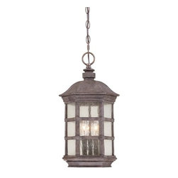 """The Great Outdoors - The Great Outdoors GO 9274 3 Light 20.25"""" Outdoor Polymer Pendant from the Light - Traditional / Classic 3 Light 20.25"""" Outdoor Polymer Pendant from the Lighthouse Road CollectionThe Lighthouse Road collection combines coastal casual with an upscale elegance. Durable Ever-Pro construction is married to six panel seeded glass. Strength and beauty are combined in this new classic.Features:"""