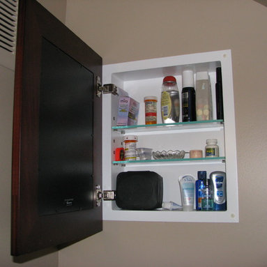 Recessed Picture Frame Medicine Cabinets with No Mirrors - Regular Espresso Concealed Cabinet with white interior from ConcealedCabinet.com.  You insert your own artwork and change it as often as you like!