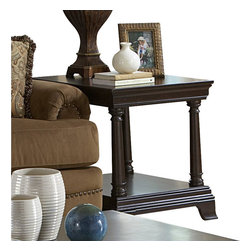 Homelegance - Homelegance Inglewood End Table in Espresso - Homelegance - End Tables - 140204 - Sophistication merges with elegant lines and classic shapes in the Inglewood Collection. Elegant turned legs support the classic traditional design. The decorative cherry veneer is bathed in a rich and deep cherry finish that flows beautifully over the clean traditional design, giving an understated elegance for any living room.