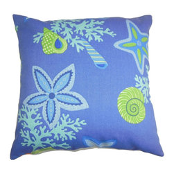 """The Pillow Collection - Jaleh Coastal Pillow Blue Green - Playful and bold, this outdoor pillow is a perfect statement piece. Create a coastal-inspired theme to your lounge area, patio or garden with this plush square pillow. This 18"""" pillow is highlighted with various sea creatures in shades of turquoise, blue and green. Toss this pillow in your poolside or place this on top of your outdoor furniture to add dimension and comfort. Made of weather-resistant materials. Hidden zipper closure for easy cover removal.  Knife edge finish on all four sides.  Reversible pillow with the same fabric on the back side.  Spot cleaning suggested."""