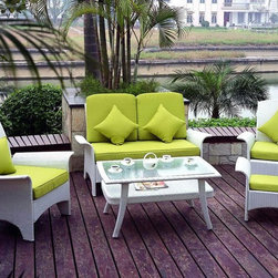 TOSH Furniture - 5 Piece White Wicker Sofa Set - TOS-GW0001SET - UV and weather resistance