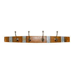 Alpine Wine Design - Banded Wine Barrel Coat Rack - This hand-crafted coatrack brings the taste of the wine country to your home, no matter where you hang your hat. Made from a recycled Napa Valley wine barrel stave with the original metal bracing bands, it's equipped with four durable brass hooks. Variations in wood grain, stain and aged patina render each piece unique.