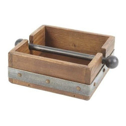 Europe 2 You - Napkin Holder by Europe 2 You - Crafted by Hungarian artisans using the reclaimed wood of 19th century buildings, our napkin holder is as attractive as it is functional. Rimmed in galvanized metal and studded with nail heads, it is topped with a hand forged wrought iron bar. Perfect for keeping napkins in place when entertaining al fresco. (ETY)