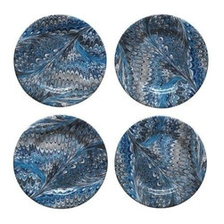 """Juliska - Juliska Blue Marbleized Cocktail Plates, Set of 4 - From the Firenze Collection - classic Italian marbling whisks you away to the Tuscan hillside for a fireside dinner 'per due'. Unique Blue Marbelization. Hand Wash Only Please. Dimensions: 7"""" W. Handmade in Portugal. Gift Boxed Set/4"""