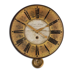 The Uttermost Company - Louis Leniel Cream and Gold Wall Clock - Weathered, laminated clock face with brass accents and pendulum. Requires 1-AA battery.