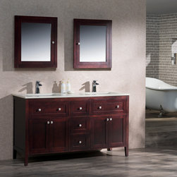 Traditional Bathroom Vanities - Inspired in the classical shaker design, the Victoria collection is a perfect marriage of function and contemporary elegance. The slightly angled legs gives this collection a soft feel but with enough character to draw the attention of the room. The soft close drawer was placed purposely at the top for the convenient access of your everyday toiletries. Available in the solid tones of White and Espresso, or in the rich warm color of Walnut wood finish.
