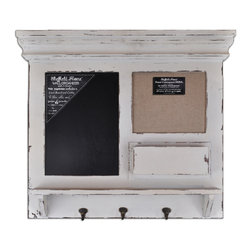 Lightaccents - Burlap, Chalk  Framed Wall Organizer with Hooks (Shabby Ivory) - This message board features a Distressed Wooden Framed Burlap Board / chalkboard combination.