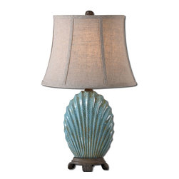 Uttermost - Uttermost Seashell Blue Buffet Lamp 29321 - Heavily crackled blue glaze with a rust wash and chocolate bronze details. The oval bell shade is a khaki linen fabric with natural slubbing.