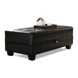 Riverside Furniture - Leather Occasional Large Ottoman Cocktail Table - Color: Bradford Brown