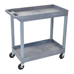 Luxor Furniture - Luxor Two Shelf Utility Cart - Ergonomic push handle molded into top shelf. 4 in.  full swivel casters, two with locking brake. 400 lb. weight capacity (evenly distributed). 18 in. D x 35¼ in. W x 34¼ in. H. 2 1/2 in.  deep tub shelves are 22½ in.  apart. Tub shelves that are 18 in. D x 32 in. W. . Assembly required. Easy assembly. . Made in USA.The Luxor E Series utility carts are made of high density polyethylene structural foam molded plastic shelves and legs that won't stain, scratch, dent or rust.