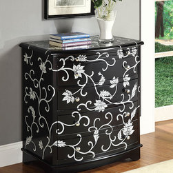 Judson Black Bombay Chest - The Judson Black Bombay Chest features cherry finish, three drawers and floral details. The chest takes traditional shape and combines it with floral design.