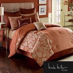 Nicole Miller - NIcole Miller Modern Opulance Oversized 4-piece Comforter Set - The Nicole Miller Modern Opulence oversized comforter set will add an elegant touch to your bedroom. This set includes a comforter made of poly satin in beautiful crimson colorway, bedskirt and two shams. European shams are sold separately.
