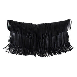 Pfeifer Studio - Leather Fringe Pillow, Black, 9 x 18, Black, 12 x 20 - Shake it with this stylish fringe pillow with a central v-taper. Each pillow has a matching leather back, closes with a hidden garment zipper and is fitted with a medium-fill feather and down inner.
