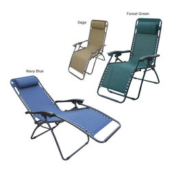 None - Deluxe Zero Gravity Outdoor Folding Recliner - Sit back, relax and put your feet up inside or out in the comfort of the Outdoor Folding Recliner Chair features an innovative design with full-range reclining motion Outdoor seating locks into any position