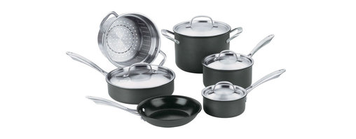 Cuisinart - Cuisinart Green Gourmet Non-Stick Hard Anodized 10-Piece Cookware Set - Exclusive Cuisinart Ceramica PTFE/PFOA-free non-stick interior helps to reduce oil consumption