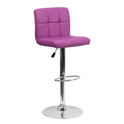 Flash Furniture - Flash Furniture Contemporary Purple Quilted Vinyl Adjustable Height Bar Stool - This sleek dual purpose stool easily adjusts from counter to bar height. The simple design allows it to seamlessly accent any area in the home. Not only is this stool stylish, but very comfortable to provide you with an amazing sitting experience! The easy to clean vinyl upholstery is an added bonus when stool is used regularly. The height adjustable Swivel seat adjusts from counter to bar height with the handle located below the seat. The chrome footrest supports your feet while also providing a contemporary chic design. [DS-810-MOD-PUR-GG]