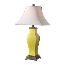 Rustic Burnt Yellow Ceramic Table Lamp - *Shaped ceramic base finished in a distressed burnt yellow glaze with antiqued, rustic bronze details.