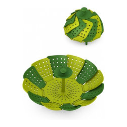 Joseph Joseph - Lotus Steamer, Green - This classic, steamer basket design is taken to new levels of practicality and convenience with this colourful, contemporary version. Made from high-quality polypropylene, the unit has self-adjusting sides to fit a variety of pans*, heat-resistant silicone feet and an innovative silicone finger guard, to help protect fingers from scalding when lifting. It has a large capacity when fully open, but folds neatly away for storage. The unit is non-scratch and suitable for use with non-stick cookware. Polypropylene parts heat-resistant up to 110C/230F; silicone parts up to 270C/520F. Dishwasher Safe.