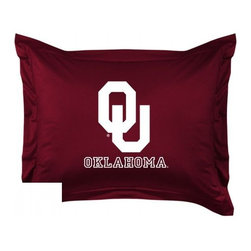 Sports Coverage - Oklahoma Sooners Locker Room Collection Pillow Sham - Show your team spirit with this officially licensed 25 x 31 Oklahoma Sooners sham. There is a 2 flanged edge that decorates all four sides of each Oklahoma NCAA sham. Made of 100% polyester jersey mesh, just like the players wear, with screen printed Oklahoma Sooners logo in the center. Envelope closure in back. Fits standard pillow. Coordinates with Oklahoma Locker Room Collection. 3 overlapping envelope closure is on back.