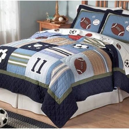 Allstate Twin Quilt w/Sham - Encourage your all-star's love of all things sports with this hand-crafted quilt and sham set. Showcasing an array of sports, this calm-hued set is a great way to add detail to a boy's room.