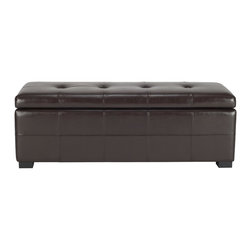 Safavieh - Maiden Tufted Storage Bench Lg - Brown - Additional seating and storage is always welcome and the Large Maiden Tufted Storage Bench offers both. Crafted with birch wood in black finish and brown bicast leather, this super-sized piece brings just as much style as it does substance.