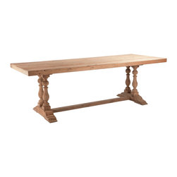 Kathy Kuo Home - Parker Solid European Oak Unfinished Trestle Base Dining Table - A large dining table that can comfortably accommodate 8 people. The Parker Dining Table features natural Aged Wood and hand turned legs. This will surely be the perfect rustic element in your dining room. The tabletop is unfinished and may be easily sealed if desired.  Light assembly is required for the Parker table