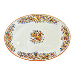 Abbiamo Tutto - Ornato Large Serving Platter - Hand formed and painted in Tuscany, Italy for Abbiamo Tutto with varying shades of amber, green and blue in a festive laurel pattern. Perfect for serving during the holiday season. Variations in color and design are part of the beauty and charm of each piece in this collection.  It is just the right size for serving your holiday meal. Lead free, food safe.