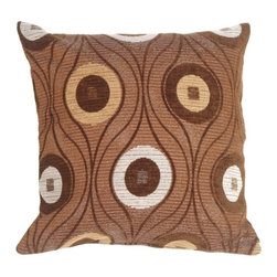 Pillow Decor - Pillow Decor - Pods in Chocolate Throw Pillow - Irresistible chocolate, in a calorie free pillow! Milk chocolate brown fabric with pale gray flecks. Darker chocolate brown lines flow around soft chenille circles in dark brown, camel and pale gray. Wonderful accent to your espresso brown furniture and flooring!