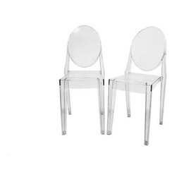 IMPORT LIGHTING & FUNITURE - Louis Chairsnt Clear Ghost Side Chair (Set of 2) - These stylish chairs have many uses in the home, office, cafe, reception area, or training room. They feature a clean, simple form sculpted to fit the body. Like round area rugs, the softer, curvier edges on the chair combined with its clear construction allow it to present the illusion of a larger room by softening otherwise harsh corner angles. - Easy to clean - Stackable - Can be used indoors or outdoors