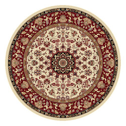 Tayse Rugs - Elegance Beige, Black and Green Round: 7 Ft. 10 In. Rug - - The detailed oriental medallion design of this area rug make a statement of elegance to any room. Soft polypropylene fibers make it soft, warm, and easy to clean. Rich hues of ivory, gold, red and black. Vacuum and spot clean.  - Square Footage: 61  - Pattern: Oriental  - Pile Height: 0.39-Inch Tayse Rugs - 5392  Ivory  8 Round