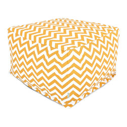 Majestic Home - Outdoor Yellow Chevron Large Ottoman - Add a little character to your living room or patio with the Majestic Home Goods Large Ottoman. This Ottoman is the perfect accessory to add comfort and style to any room while functioning as a decorative foot stool, pouf, or coffee table. Woven from outdoor treated polyester, these ottomans have up to 1000 hours of U.V. protection and are able to withstand all of natures elements. The beanbag inserts are eco-friendly by using up to 50% recycled polystyrene beads, and the removable zippered slipcovers are conveniently machine-washable.