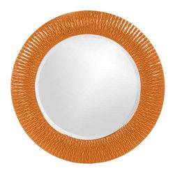 Howard Elliott Bergman Orange Small Round Mirror - This round, resin mirror is painted in a glossy orange giving the piece textured, starburst effect.